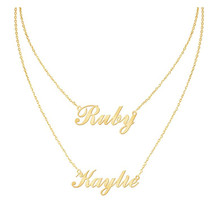 HIYONG Personalized Name Necklace Gold Silver Custom Necklaces Two Jewelry Women Customized Gift for Her