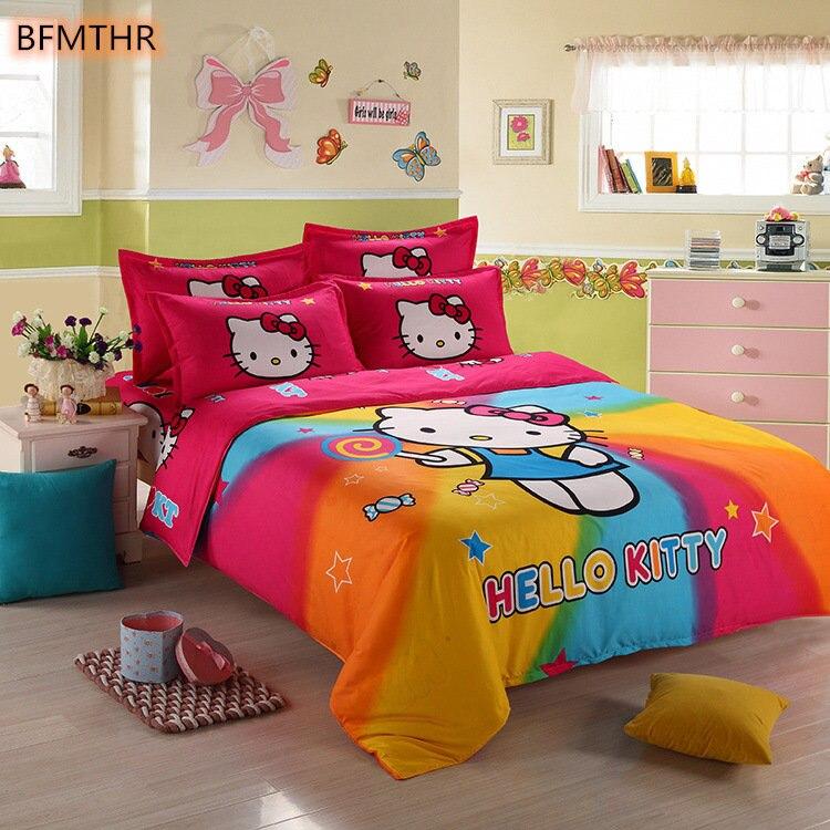Home Bed Linen For Children Boys Girl Gift Duvet Cover Flat Sheet Cotton  Four Cartoon  Cat Bedclothes 3/4 Foreign Trade XHS0106