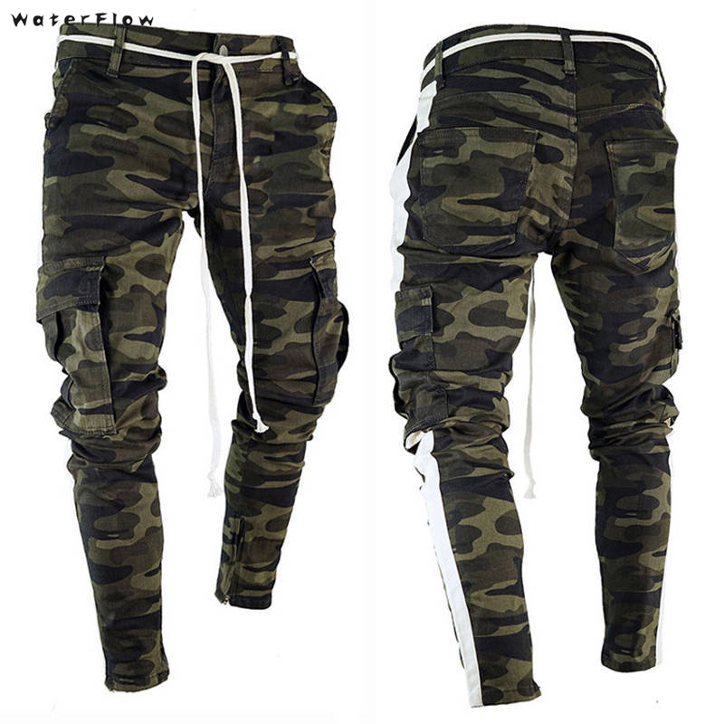 Fashion Streetwear Men Jeans Jogger Pants Camouflage Military Pants Loose Big Pocket Cargo Pants Hip Hop Trousers