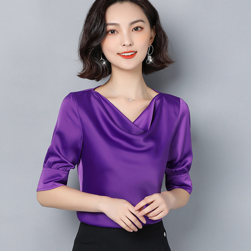 Korean Silk Blouses Women Sartin Blouse Shirts Women Solid V Neck Blouse Tops Plus Size Blusas Mujer De Moda 2020 Womens Tops