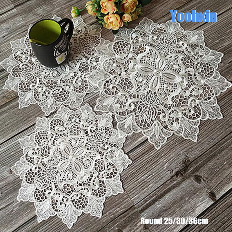 Best Price 0f1e Hot Lace White Round Embroidery Table Place Mat