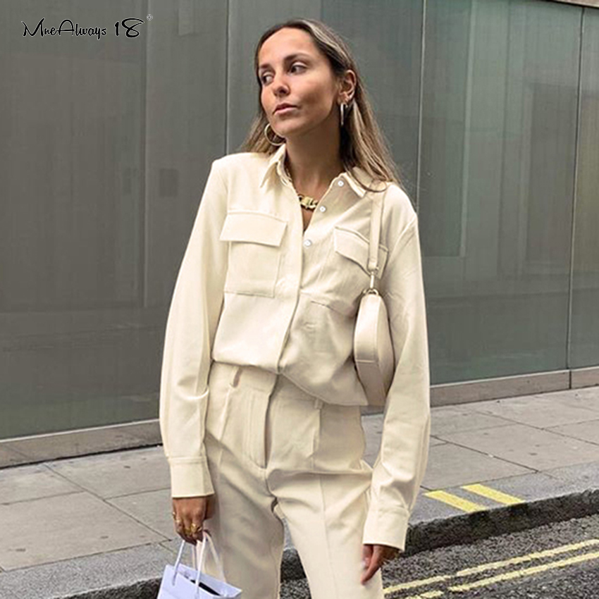Mnealways18 Solid Button Pocket Women Tops And Blouses Beige Ladies Office Shirt Long Sleeve Work Casual Blouse Top Spring 2020