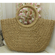 2018 Summer Half Moon Weave Beach Crochet Bohemian Fashion Straw Woven Tote Top-handle Bags female For Women Handbag Bag Rattan(China)