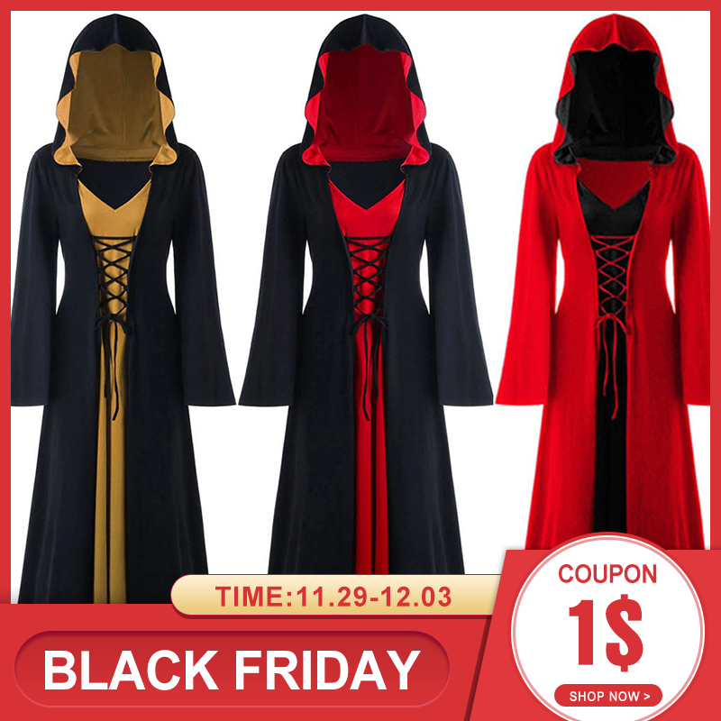 Women Retro Medieval Dress Gothic Halloween Dress Hooded ...