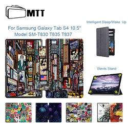 MTT PU skórzane etui pokrywa dla Samsung Galaxy Tab S4 10.5 cal T830 T835 T837 ochronne Funda składane z klapką stojak inteligentny tablet Case
