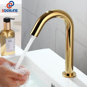 Contemporary Automatic Infrared Sensor Batteryed Power Hot & Cold Gold Plated Basin Faucet Touchless Mixer Tap For Bathroom Sink flg sensor faucet automatic inflrared sensor hand touch tap hot cold mixer chrome sink mixer bathroom tap sink faucet