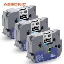 Absonic 3 шт. TZe ленты TZe-355 TZ-355 TZe355 TZ355 белый на черном 24 мм* 8 м Совместимость для принтеров Brother P-touch PT-D600 PT-700