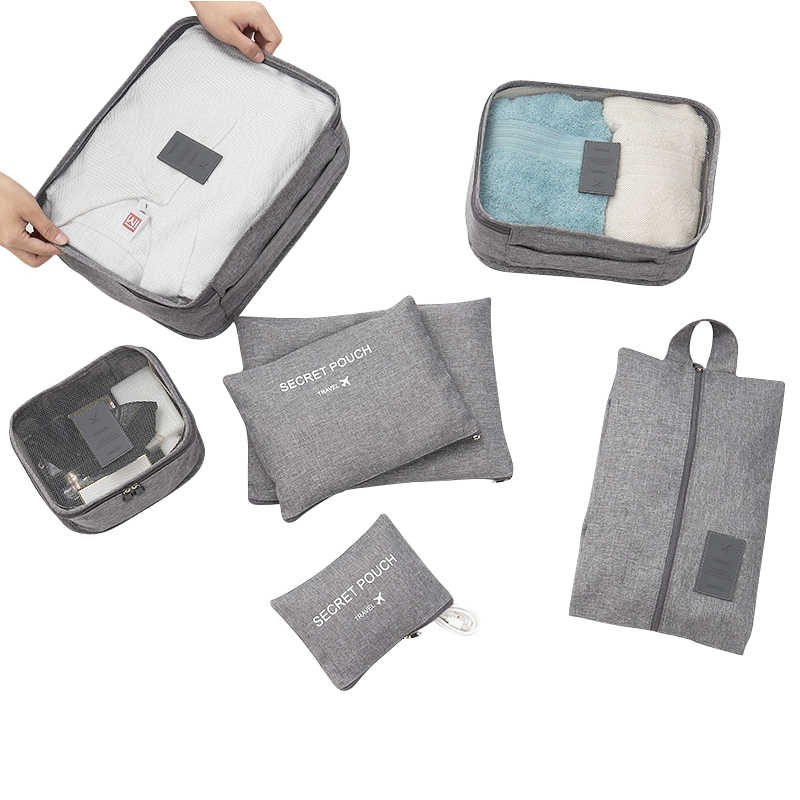 SEREQI New High Quality 7-piece Travel Organizer Storage Bag Set Clothes Organizer Bags Pouch Suitcase Closet Bags Travel Bag