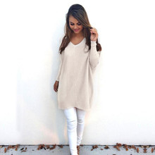 Women AutumnTops Long Sleeve V Neck Elegant Simple Loose Jumper Knitted Thin Pullover Fashion Sweater