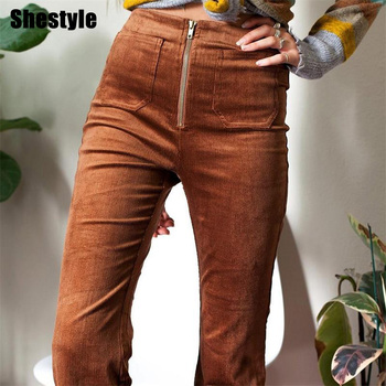 Shestyle Corduroy Flare Pants Women 2020 Autumn Zipper Pockets Brown Middle Waist Casual Daily Texture Boot Cut Pant Trousers брюки спортивные columbia columbia anytime outdoor boot cut pant