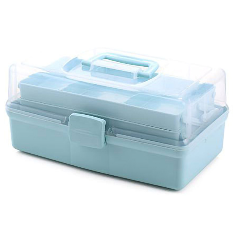 Multifunctional Portable Three Layer Storage Box For Tool Toys And Cosmetics Medicine Organization Storage Blue S