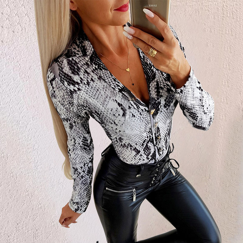 Sholina Autumn Snake Print Bodysuit Long Sleeve V Neck Jumpsuit Sexy Elegant Rompers Female Button Plus Size Overalls For Women