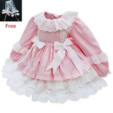 Espanhol meninas vestido de casamento laço princesa vestidos de aniversário festa natal traje crianças robe fille bebê infantil roupas da menina