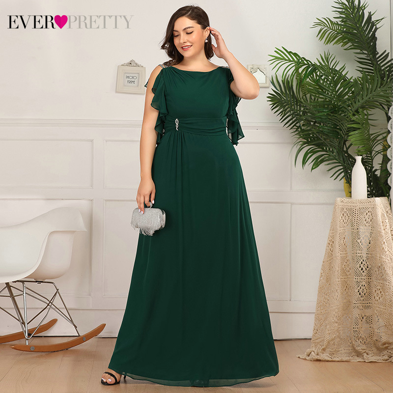 Plus Size Evening Dresses Ever Pretty A-Line O-Neck Beaded Ruffles Sleeveless Elegant Chiffon Long Party Gowns Robe De Soiree