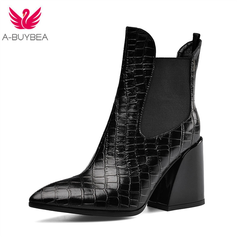 Real Leather Ankle Boots for Women Fashion Pointed Toe High Heels Womens Western Boots Slip-on Ladies Winter Black Shoes Size 43