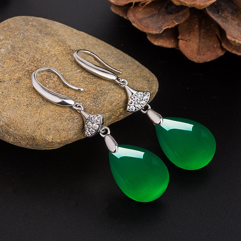 Natural Green Jade Chalcedony Water Drop Earrings 925 Silver Carved Charm Jadeite Jewelry Fashion Amulet for Women Gifts