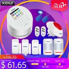 KERUI W2 WiFi PSTN GSM 무선 경보 패널 홈 도난 방지 시스템 APP 제어 RFID IP 카메라 PIR 감지기와 호환 가능