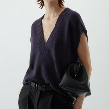 Sleeveless Vest Spring V-Neck Autumn Women New And Cashmere Wild Large-Profile Pure-Color