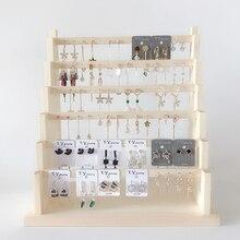 Biżuteria drewniana organizator Rack uchwyt na kolczyki naszyjnik bransoletka stojak obrotowy brelok do przechowywania/pudełko