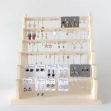 Estante organizador de joyas de madera, soporte para pendientes, collar, pulsera, soporte giratorio para exhibición de llavero, almacenamiento/caja