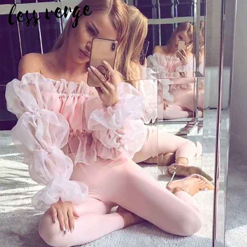 Lessverge Off shoulder ruffle mesh white   blouse     shirt   Elegant cropped women tops peplum Sexy pink autumn winter blusas mujer