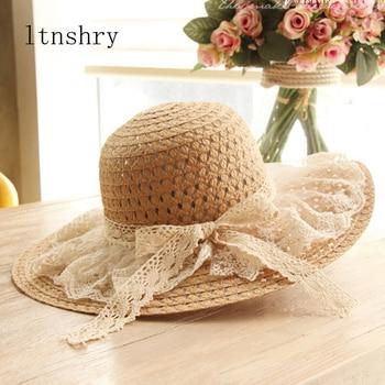 Women Lace Sun Hats For  Wide Brim Straw Beach Side Cap Floppy Female Hat Solid Fringe Summer Chapeu