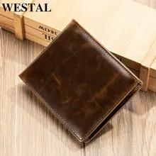 Wallet Purse Money-Bag Credit-Card-Holder WESTAL Rfid Engraving Men for Designer Men's
