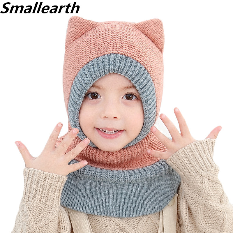 New Autumn Winter Baby Knitted Hat Set For Boys Girl Windproof Outdoor Warm Children Beanies Hat Scarf Set Cotton Kids Thick Cap