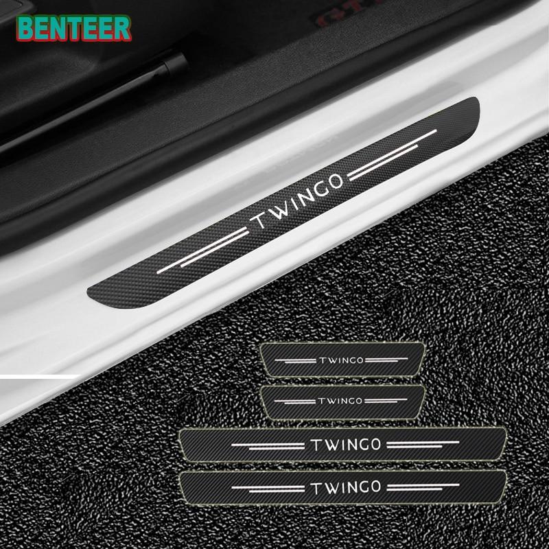4 pçs/lote nova fibra de carbono porta do carro soleiras protetor adesivos para renault twingo tyling carro