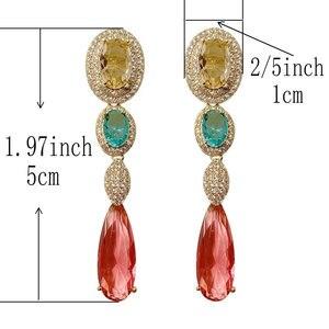 Image 5 - אופנה ארוך אדום cz drop עגיל לנשים