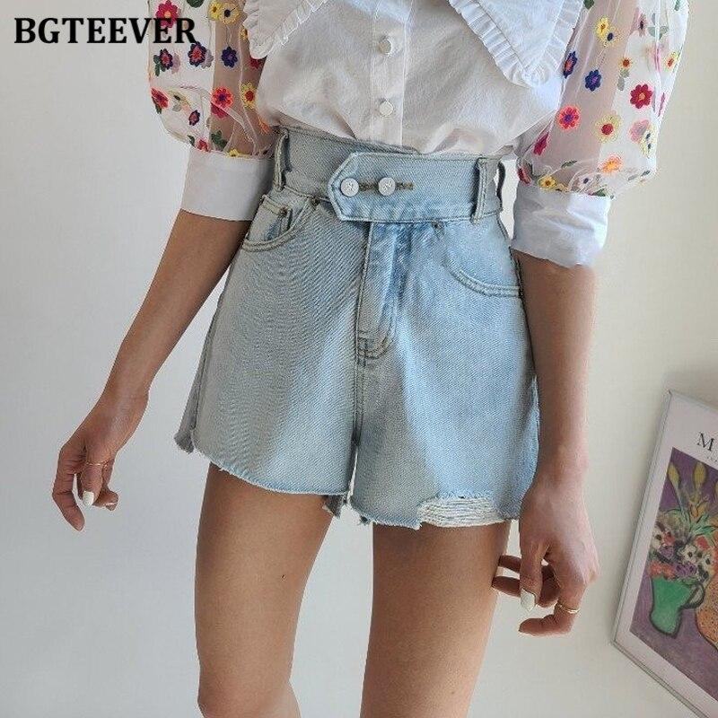 BGTEEVER Vintage Ripped Edges Denim Shorts Women Double Button Loose Denim Blue Summer Female Jeans Shorts 2020 Streetwear