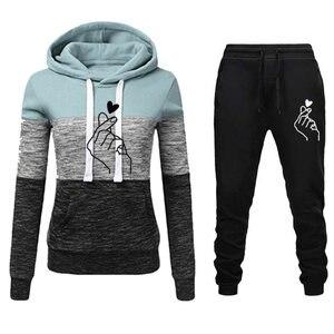 Женский спортивный костюм размера плюс, толстовка с длинным рукавом и капюшоном + штаны, комплект из 2 предметов, спортивные костюмы для трен...