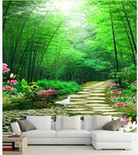 Custom mural 3d wall mural on the wall Natural scenery bamboo forest trail flowers home decor photo wallpaper in the living room(China)