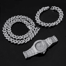 Hip Hop Miami Curb Cuban Chain Choker Gold Sliver Iced Out Paved Rhinestone Bling Rapper for Men Fashion Watch Necklace Bracelet