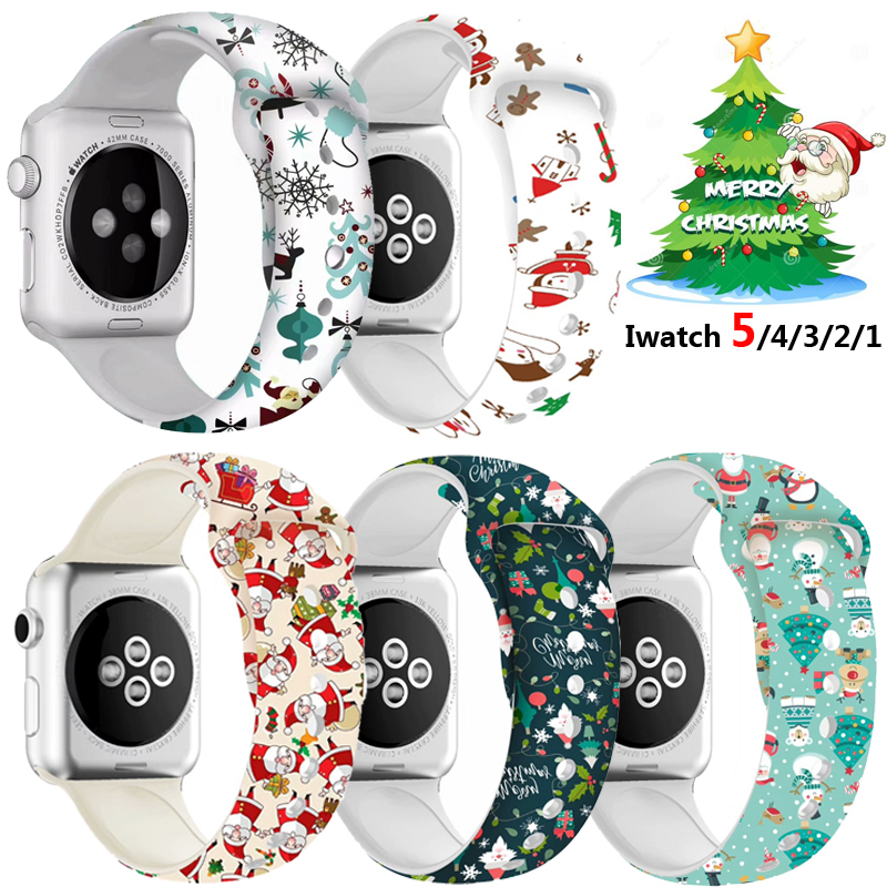 Printed Cartoon Sport For Apple Watch Band Series 5 4 3 2 1 Santa Silicone Strap For IWatch Christmas Gift Wrist 38 40 42 44 MM