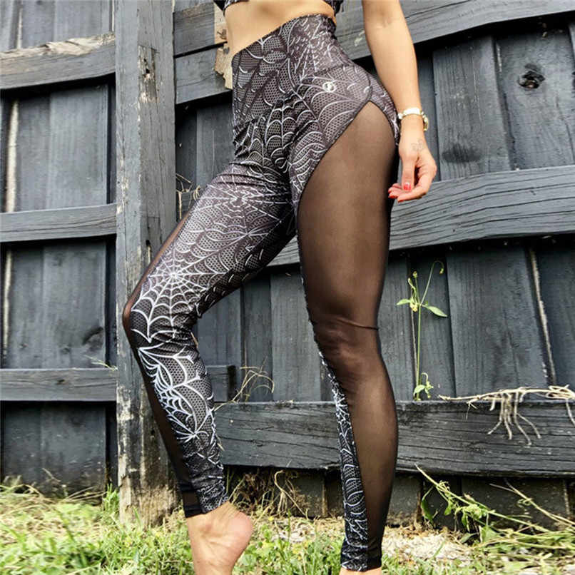 Fashion Kulit Ular Legging Wanita Kebugaran Legging Sport Workout Legging Femme Mesh Patchwork Legging J6