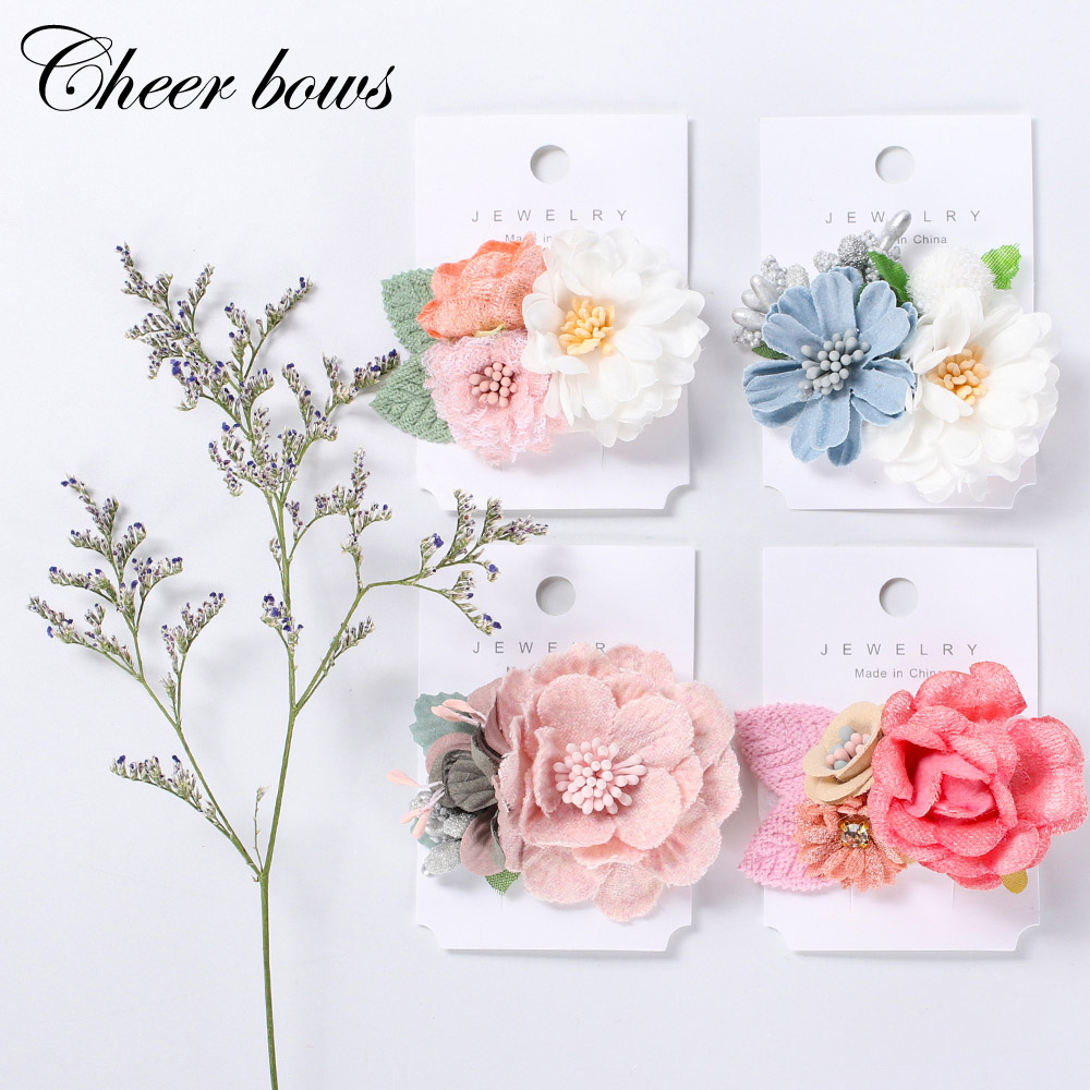 Girls Artificial Flower BB Hair Clips Lovely Handmade Barrettes Hairpins For Kids Women Wedding Party Hair Bows Hair Accessories