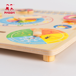 Image 4 - Wooden Calendar Toy Multifunction 6 in 1 Hanging Kids Clock Date Weather Chart Early Educational Learning Toy