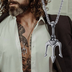 SEA KING POSEIDON'S TRIDENT PENDANT STAINLESS STEEL THREE-PRONGED SPEAR NECKLACE FOR MEN JEWELRY