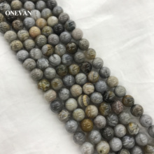 alterna bamboo smooth набор bamboo smooth набор ONEVAN Natural A+ Grey Bamboo Leaf Agate Beads Smooth Loose Round Stone Diy Bracelet Necklace Jewelry Making Gemstone Design