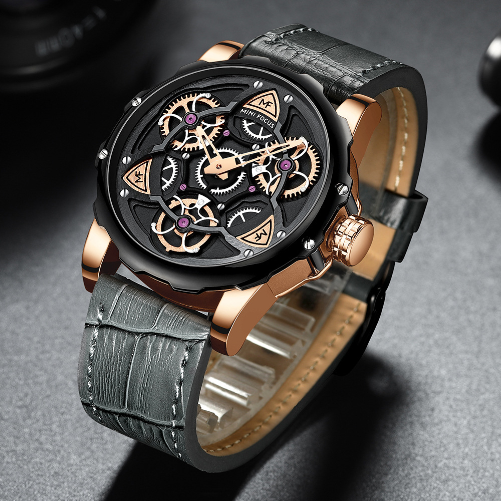 Minifocus Fox Mf0249g машинный стиль шестерни Спиннер вертикальные буквы поверхность кожаный ремешок мужские часы