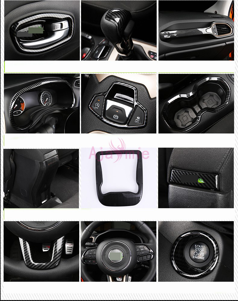 For Jeep Renegade 2016 2017 Interior Carbon Fiber Steering Wheel lamp AC Outlet Gear Knob Shift Moulding Trim Car Accessories