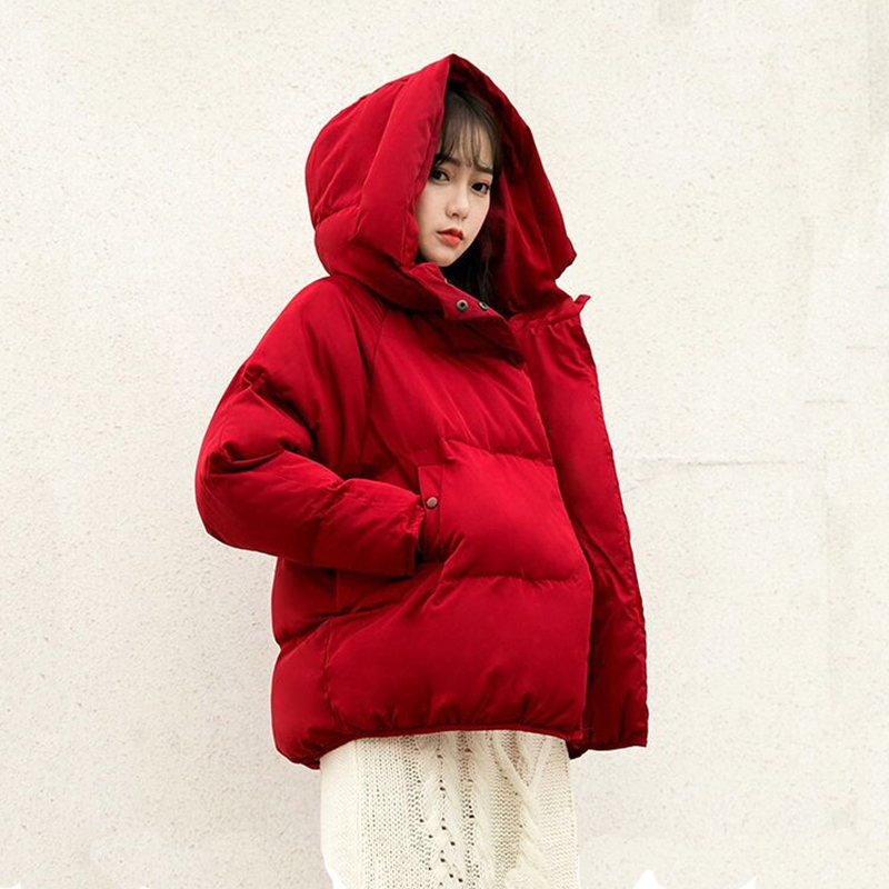 Women Short Loose   Parkas   Warm Winter Jacket Coat Red Cotton-padded Hooded Outerwear Autumn Thicken Clothing Orwindny