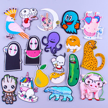 Pulaqi Cartoon Applique Jurassic Park Patches For Clothing Iron On Embroidered Patch Animal Unicorn Stickers Stripes Groot
