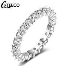 Cuteeco Luxury Pan Jewelry White Color Cubic Zirconia Simple Ring For Women Wedding Engagement Gifts