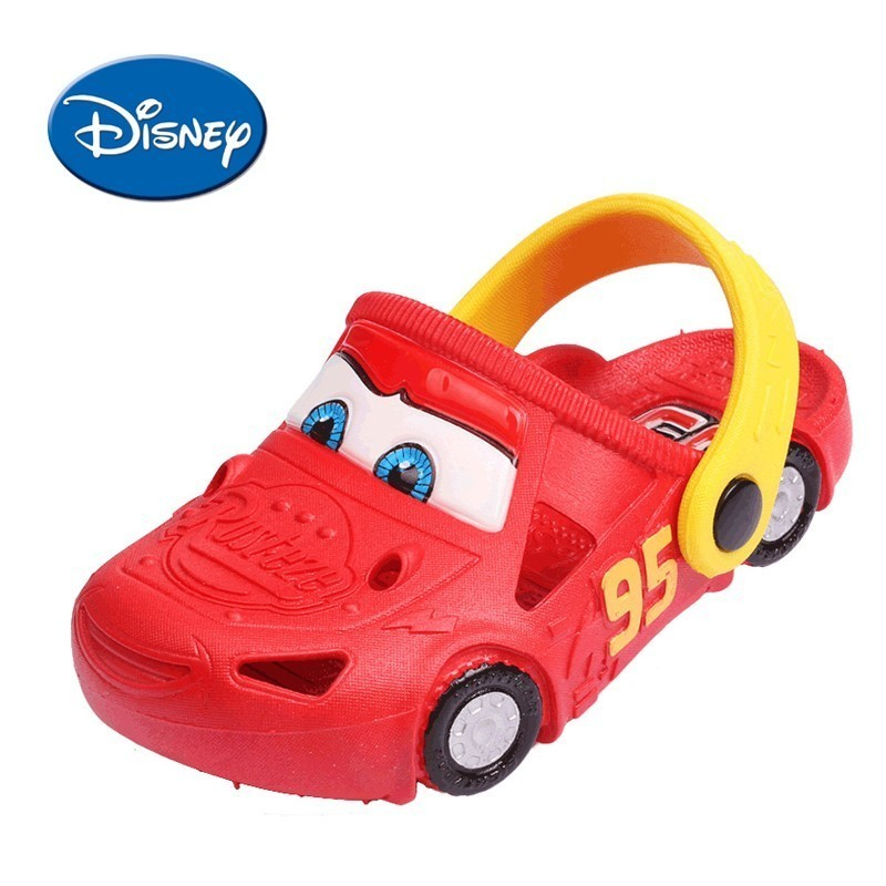 Disney Original Cartoon Car Kids Slippers Summer Hole Shoes Non-slip Beach Children's Sandals #14099