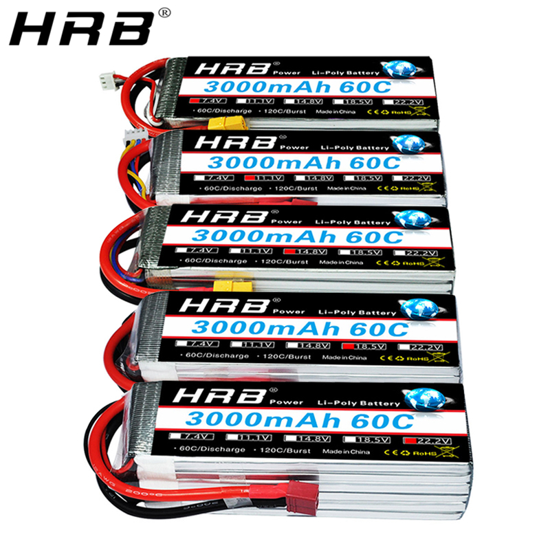 HRB 2S 7.4V Lipo Battery 3000mah 60C XT60 11.1V 3S T Deans 14.8V 18.5V 22.2V 4S 5S 6S 3.7V For FPV Airplanes Drone Car RC Parts(China)