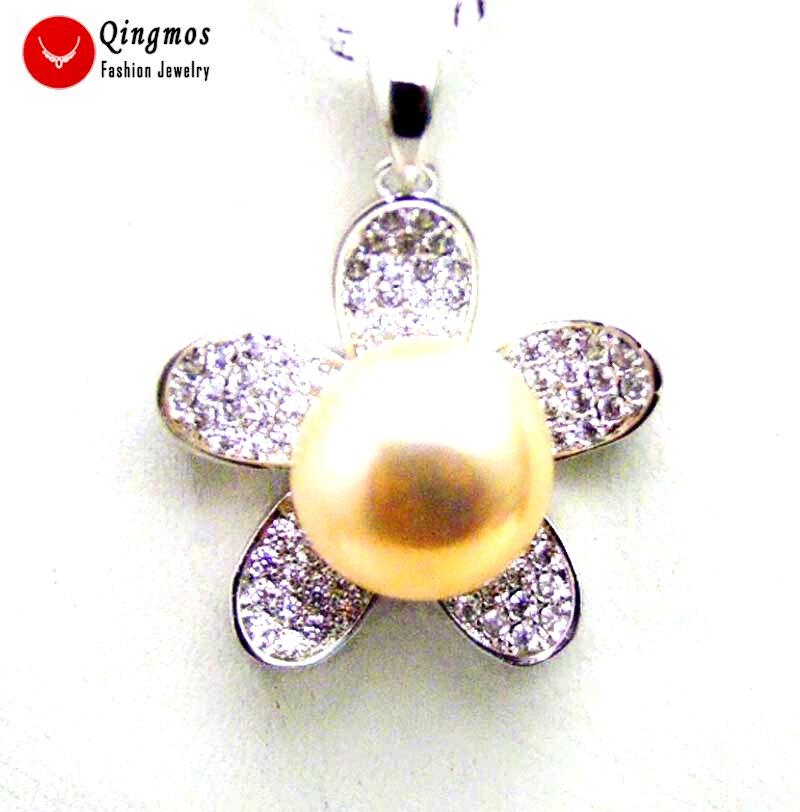 Qingmos argent 24mm fleur pendentif collier pour femmes avec naturel 11-13mm plat rond rose perle collier argent S925 chaîne 16