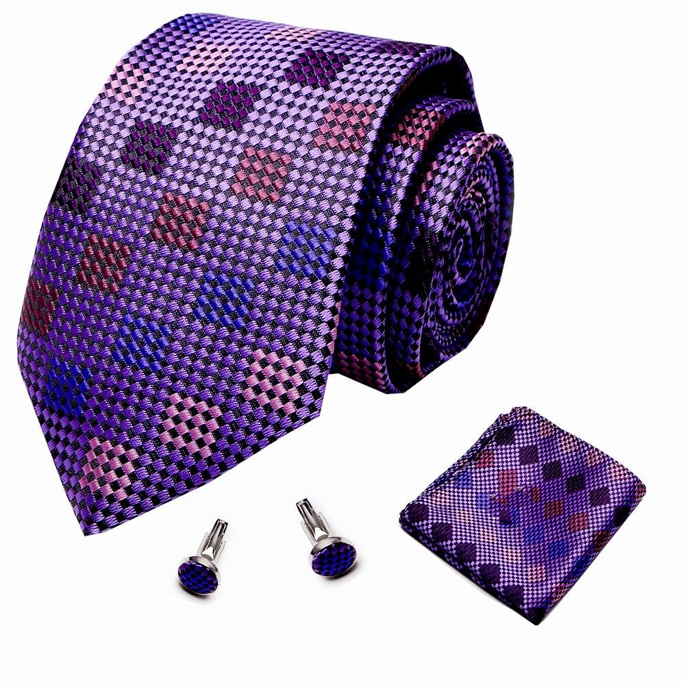 Men's 7.5cm 100% Plaid  Necktie Luxury Purple Tie Set  Wedding  Tie Hanky Cufflinks Set