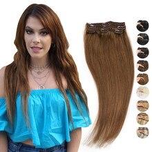 MRSHAIR pince brun clair dans les Extensions de cheveux 3 Clips Extensions de cheveux humains pièces de cheveux Machine Remy 3 pièces/lot 16 18 20 22 pouces